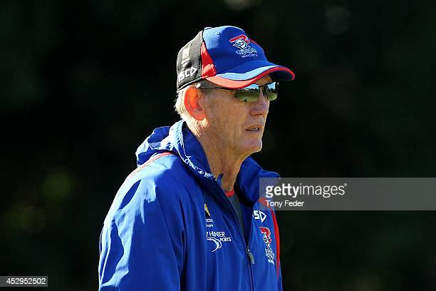 Wayne Bennett coach of the Knights during a Newcastle Knights NRL training session on July 31 2014 in Newcastle Australia