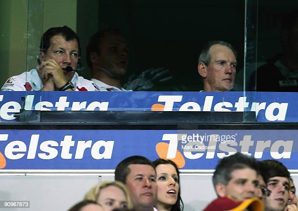 Wayne Bennett of the Dragons watches the final minutes of the second NRL semi final match between the Brisbane Broncos and the St George Illawarra...