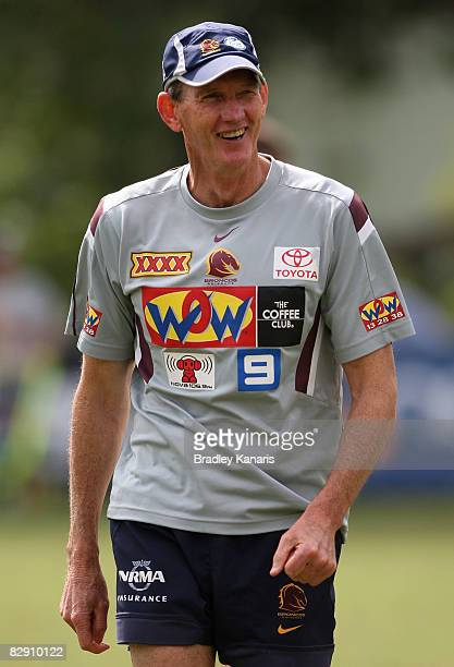 Wayne Bennett smiles as he watches on during a Brisbane Broncos training session at the Broncos training fields on September 19 2008 in Brisbane...