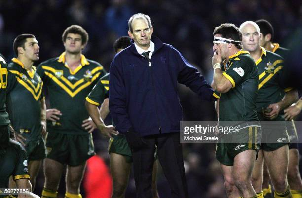 Wayne Bennett the Australia manager comforts his defeated side after the Gillette Tri Nations Final between Australia and New Zealand at Elland Road...
