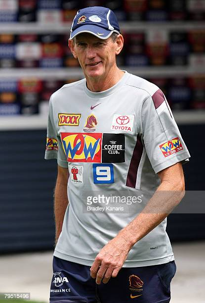 Wayne Bennett walks towards the wating media after announcing his resignation as coach of the Brisbane Broncos at the Broncos Leagues Club on...