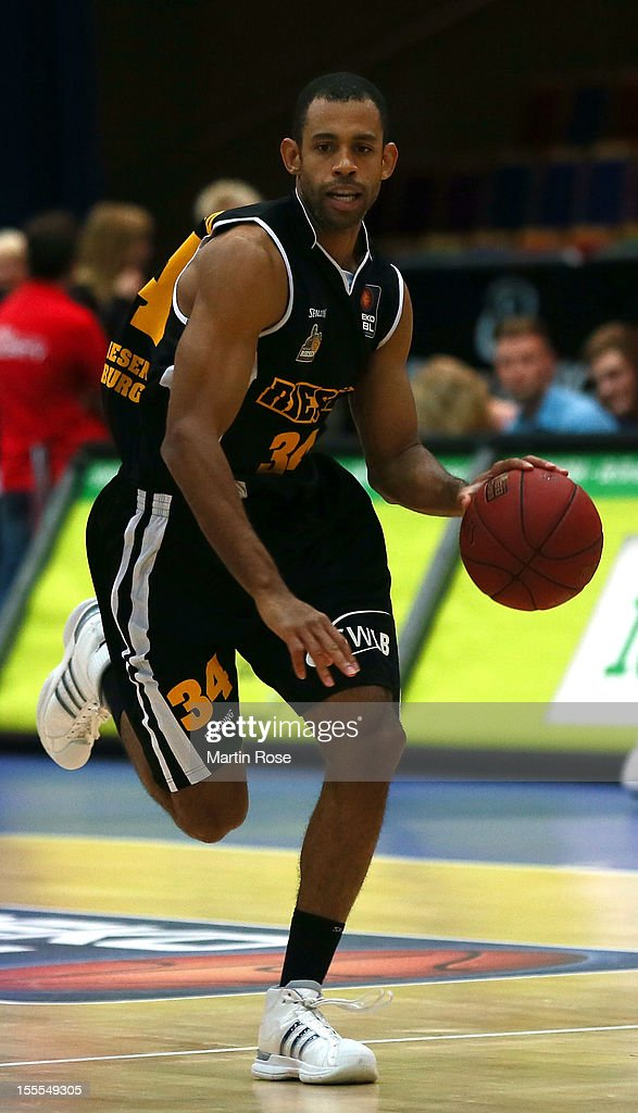 Wayne Bernard of Ludwigsburg runs with the ball during the Beko BBL basketball match between Eisbaeren Bremerhaven and Nackar RIESEN Ludwigsburg at the Stadthalle on November 4, 2012 in Bremerhaven, Germany.