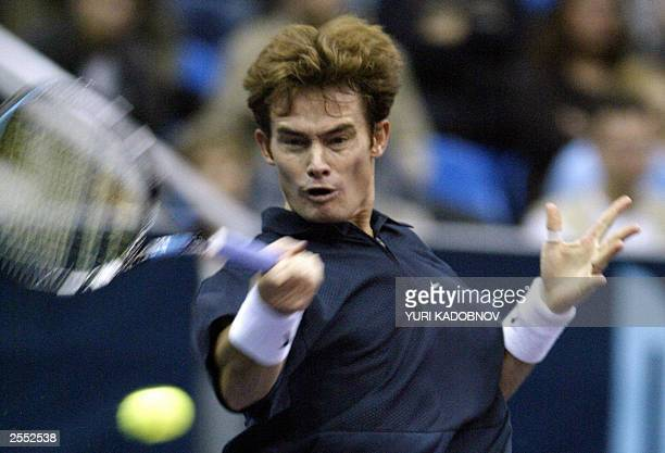 Wayne Black of Zimbabwe hits the ball from fourth seeded Russian Marat Safin during their match at the ATP men's Kremlin Cup tennis tournament in...