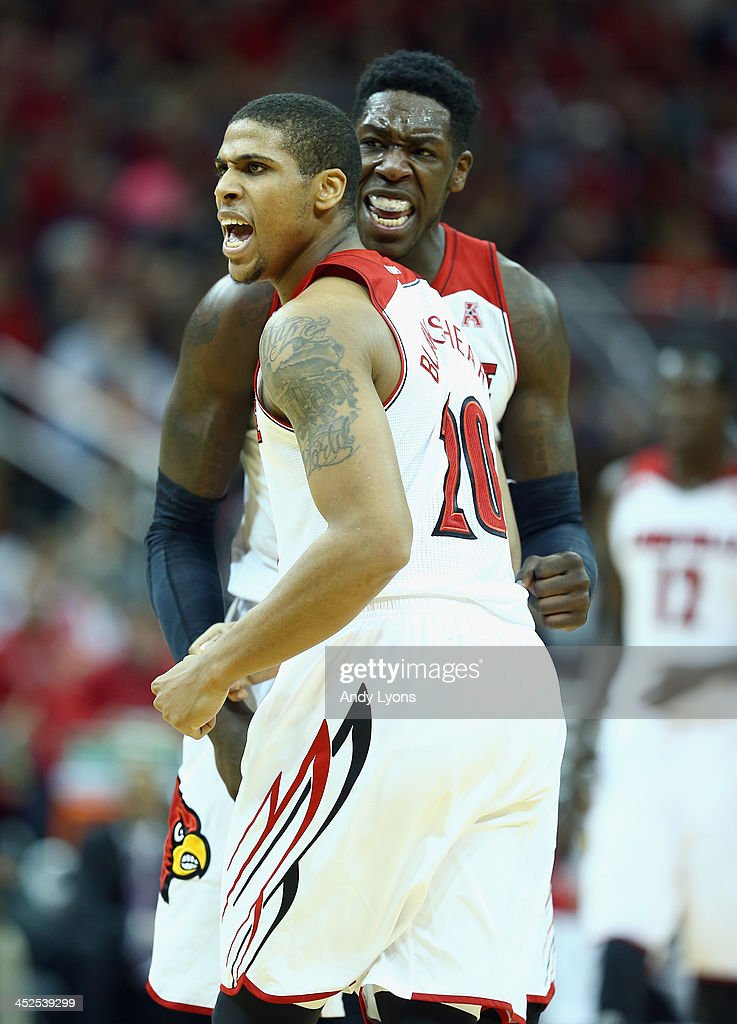 Wayne Blackshear #20 and Montrezl Harrell # 24 of the Louisville Cardinals celebrate during the game against the Southern Mississippi Golden Eagles at KFC YUM! Center on November 29, 2013 in Louisville, Kentucky.