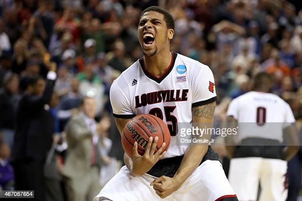 Wayne Blackshear of the Louisville Cardinals celebrates after defeating the UC Irvine Anteaters during the second round of the 2015 NCAA Men's...