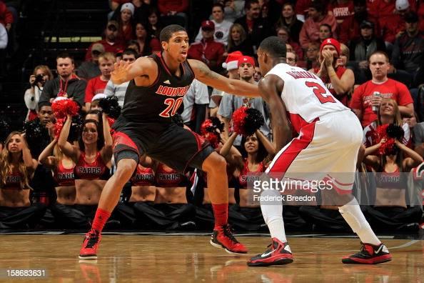 Wayne Blackshear of the Louisville Cardinals plays against Eddie Alcantara of the Western Kentucky Hilltoppers at Bridgestone Arena on December 22...