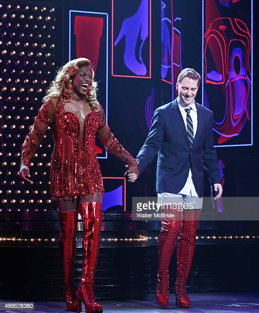 Wayne Brady with Andy Keslo during Wayne Brady's opening night curtain call bows in 'Kinky Boots' at the Hirschfeld Theatre on December 1 2015 in New...
