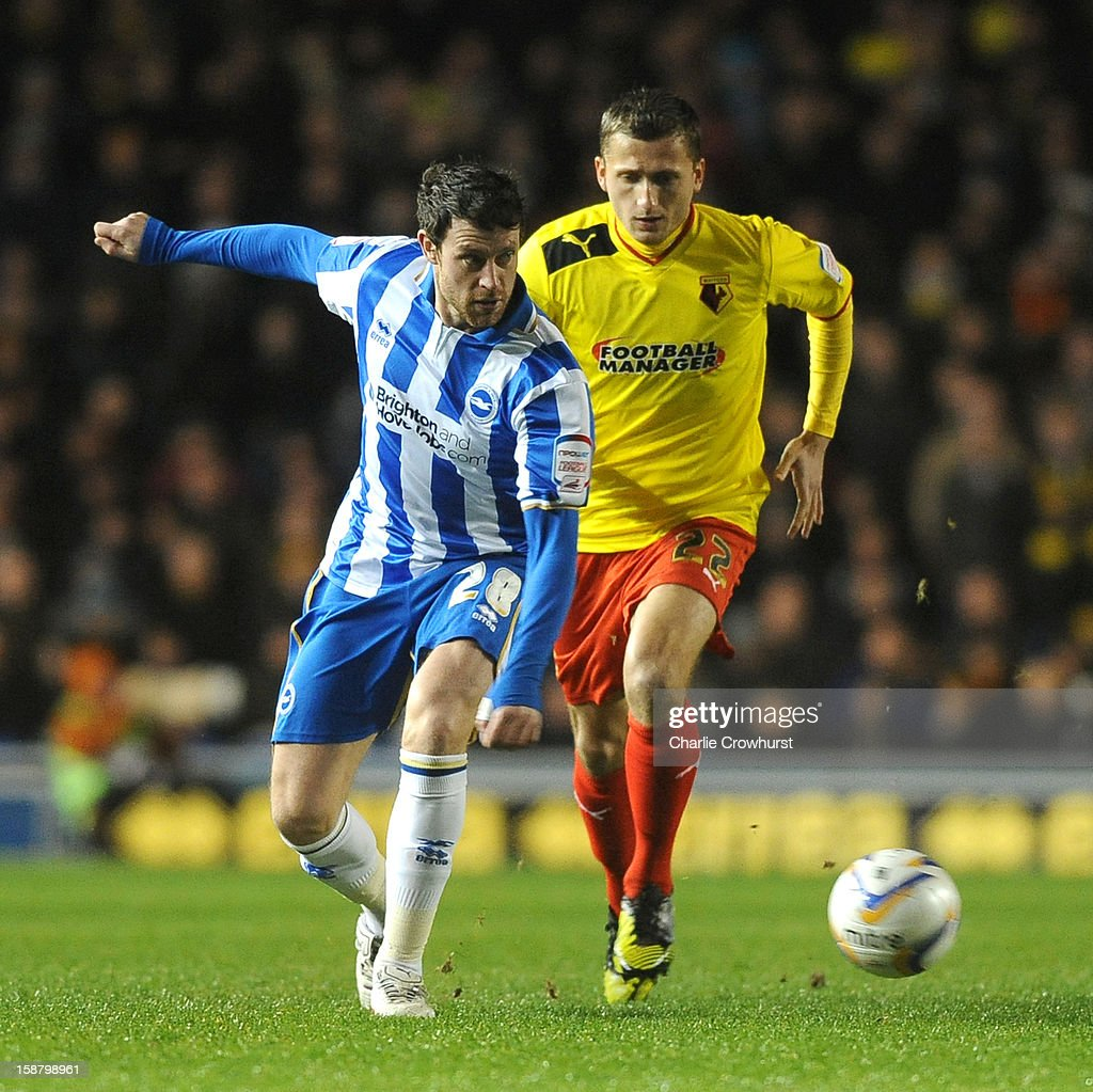 Wayne Bridge of Brighton & Hove Albion holds the ball up during the npower Championship match between Brighton & Hove Albion and Watford at The Amex Stadium on December 29, 2012 in Brighton England.