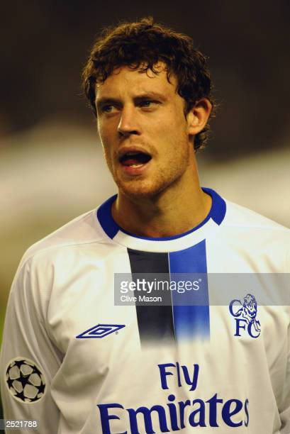 Wayne Bridge of Chelsea during the team lineup prior to the UEFA Champions League Group G match between AC Sparta Prague and Chelsea on September 16...