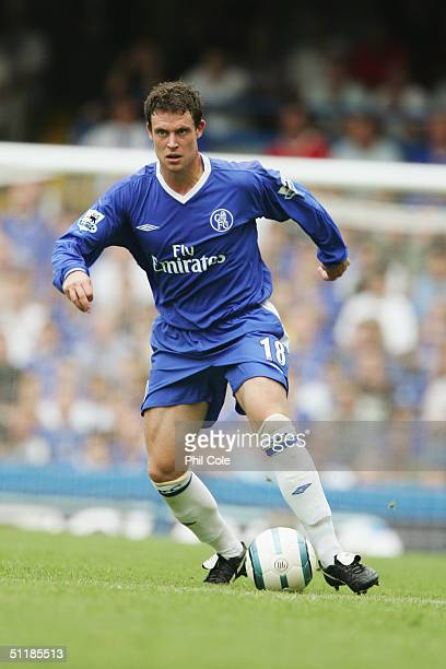 Wayne Bridge of Chelsea in action during the Barclays Premiership match between Chelsea and Manchester United at Stamford Bridge on August 15 2004 in...
