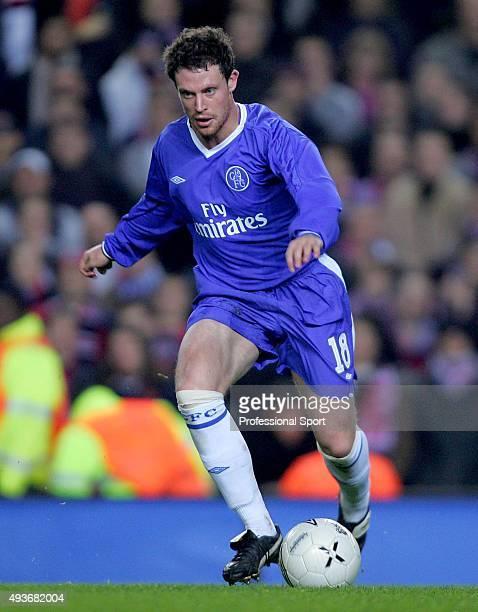 Wayne Bridge of Chelsea in action during the Champions League match between Chelsea and Paris Saint Germain at Stamford Bridge on November 24 2004 in...