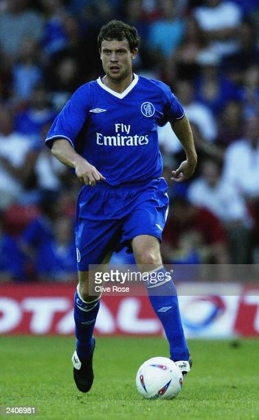 Wayne Bridge of Chelsea running with the ball during the preseason friendly match between Watford and Chelsea on August 5 2003 at Vicaridge Road...