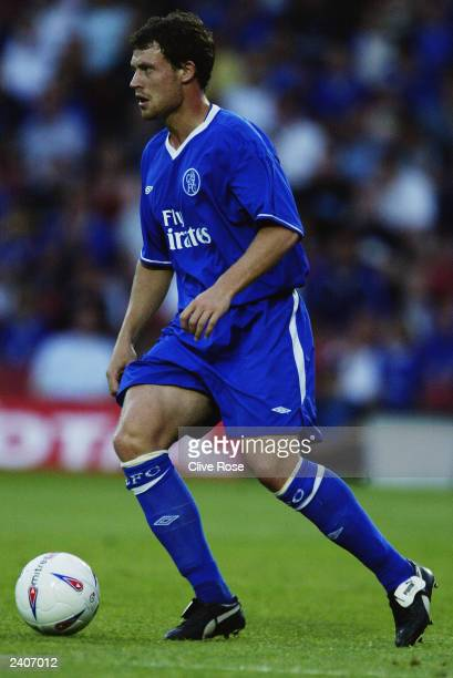 Wayne Bridge of Chelsea runs with the ball during the preseason friendly match between Watford and Chelsea on August 5 2003 at Vicaridge Road London...