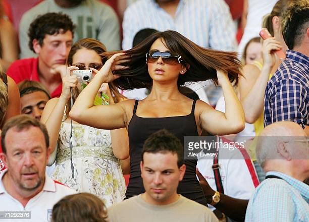 Wayne Bridge's girlfriend Vanessa Perroncel waits for the action to start prior to the FIFA World Cup Germany 2006 Round of 16 match between England...