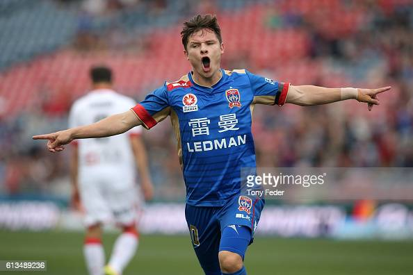 Wayne Brown of the jets celebrates a goal during the round one ALeague match between the Newcastle Jets and Adelaide United at Hunter Stadium on...
