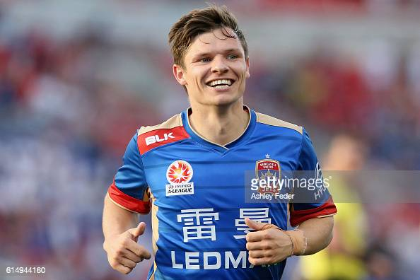 Wayne Brown of the Jets celebrates a goal during the round two ALeague match between the Newcastle Jets and the Brisbane Roar at Hunter Stadium on...