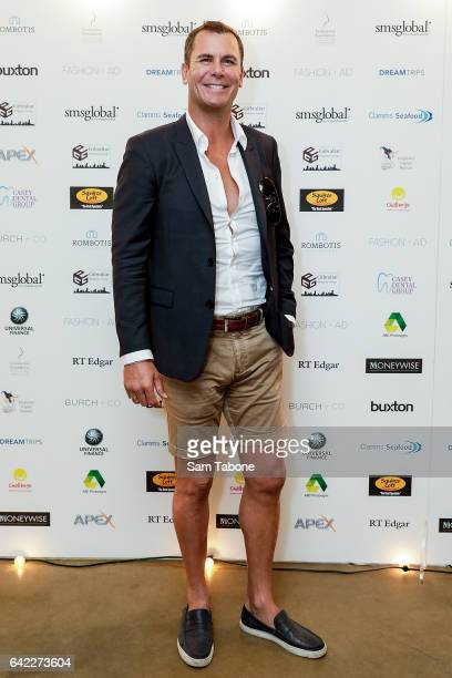 Wayne Carey arrives at the Fashion Aid marquee at the Kennedy Twilight Beach Polo on February 17 2017 in Melbourne Australia