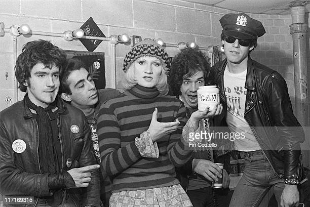 Wayne County and the Electric Chairs British punk band sitting backstage at a venue in London England Great Britain 1978