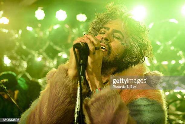 Wayne Coyne lead singer of the Flaming Lips performs during The Now At The Aspen Art Museum on December 28 2016 in Aspen Colorado