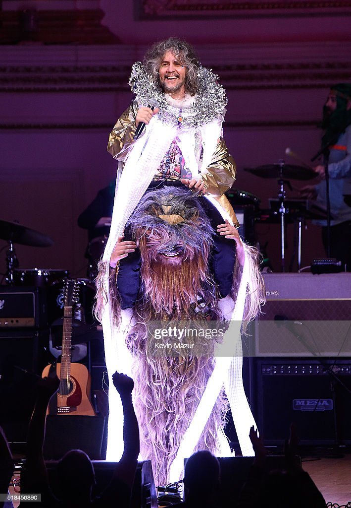 Wayne Coyne of Flaming Lips performs onstage during The Music of David Bowie at Carnegie Hall on March 31 2016 in New York City