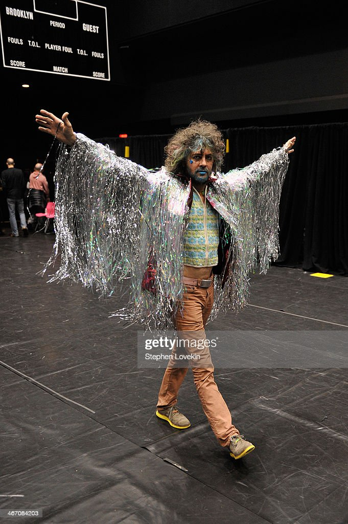 <a gi-track='captionPersonalityLinkClicked' href=/galleries/search?phrase=Wayne+Coyne&family=editorial&specificpeople=204435 ng-click='$event.stopPropagation()'>Wayne Coyne</a> of The Flaming Lips backstage at the Amnesty International Concert presented by the CBGB Festival at Barclays Center on February 5, 2014 in New York City
