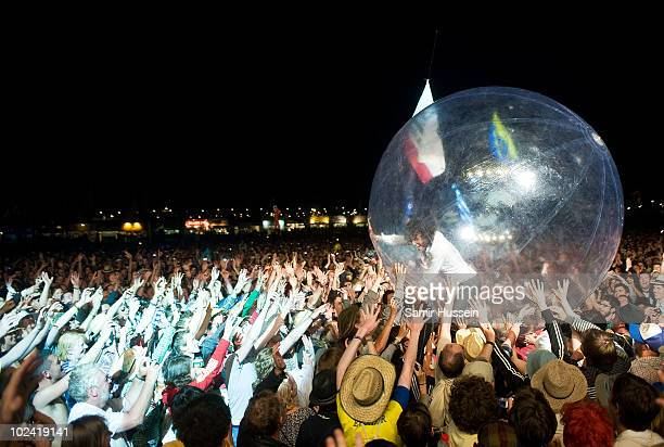 Wayne Coyne of The Flaming Lips headlines the Other Stage at the Glastonbury Festival on June 25 2010 in Glastonbury England Glastonbury has become...