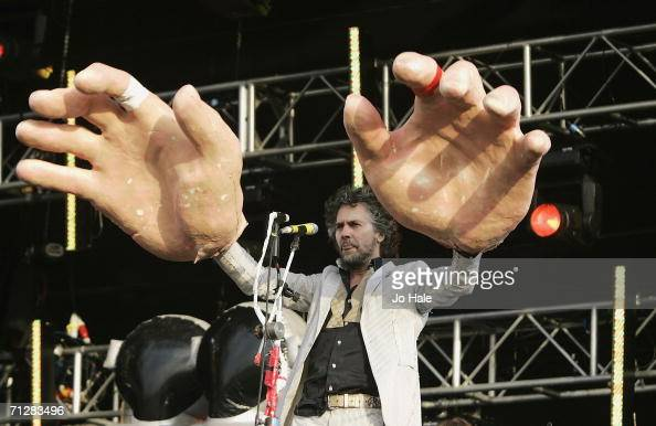 Wayne Coyne of The Flaming Lips performs at the O2 Wireless Festival 2006 in Hyde Park on June 23 2006 in London England