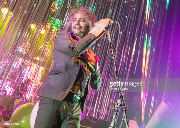 Wayne Coyne of The Flaming Lips performs in support of the There Should Be Unicorns Tour 2017 at The Royal Oak Music Theater on March 14 2017 in...
