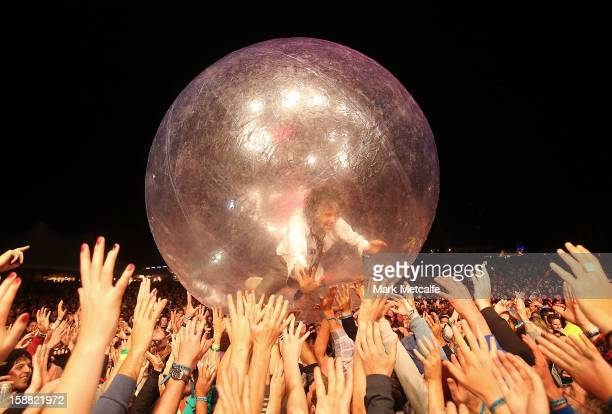 Wayne Coyne of the Flaming Lips performs live on stage at The Falls Music and Arts Festival on December 30 2012 in Lorne Australia