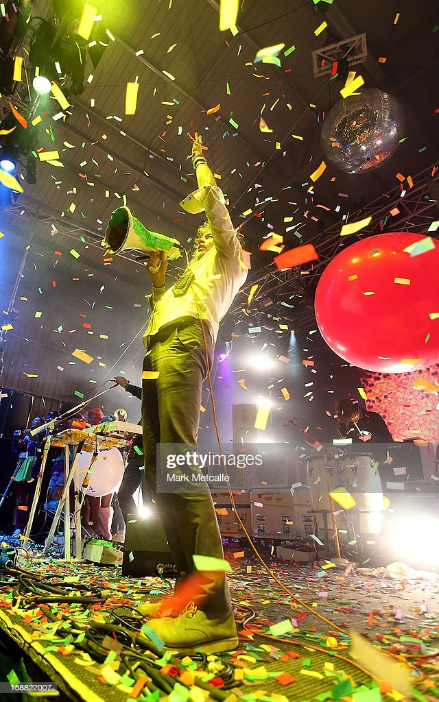 Wayne Coyne of the Flaming Lips performs live on stage at The Falls Music and Arts Festival on December 30, 2012 in Lorne, Australia.