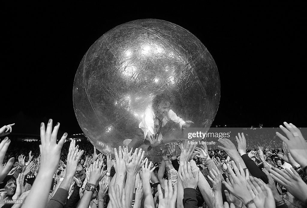 <a gi-track='captionPersonalityLinkClicked' href=/galleries/search?phrase=Wayne+Coyne&family=editorial&specificpeople=204435 ng-click='$event.stopPropagation()'>Wayne Coyne</a> of the Flaming Lips performs live on stage at The Falls Music and Arts Festival on December 30, 2012 in Lorne, Australia.