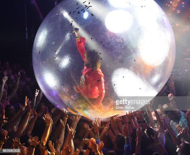 Wayne Coyne of The Flaming Lips rides over the audience at The Tabernacle on April 2 2017 in Atlanta Georgia
