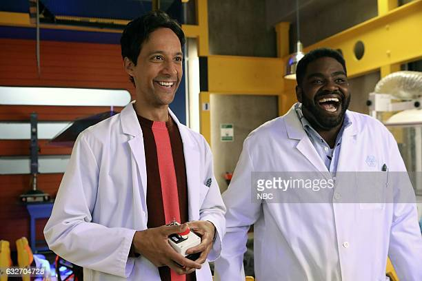 POWERLESS 'Wayne Dream Team' Episode 103 Pictured Danny Pudi as Teddy Ron Funches as Ron