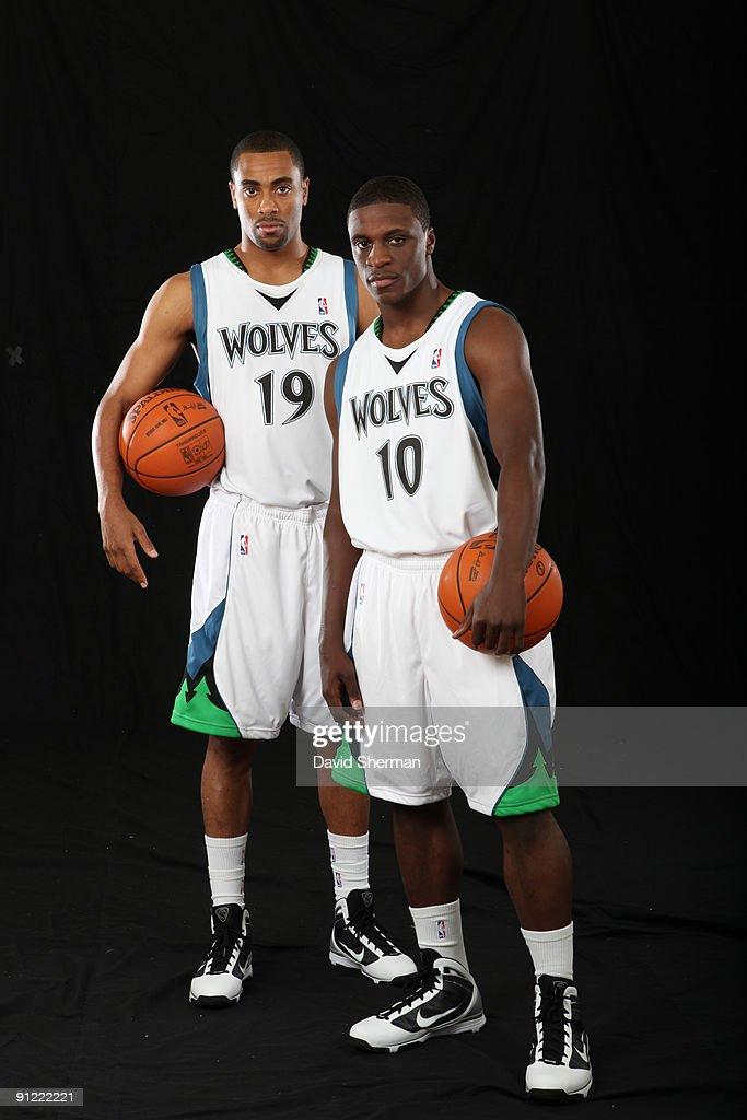 Wayne Ellington and Jonny Flynn of the Minnesota Timberwolves pose for a portrait during 2009 NBA Media Day on September 28 2008 at Target Center in...