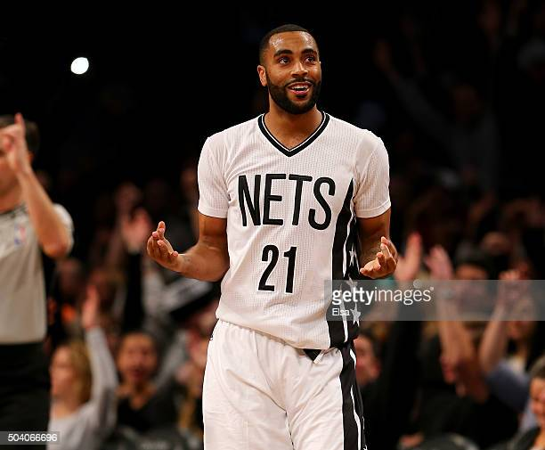 Wayne Ellington of the Brooklyn Nets celebrates his three point shot at the buzzer ending the third quarter against the Orlando Magic on January...
