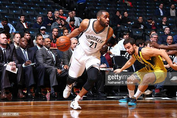 Wayne Ellington of the Brooklyn Nets handles the ball against Fenerbahce during a preseason game on October 5 2015 at Barclays Center in Brooklyn New...