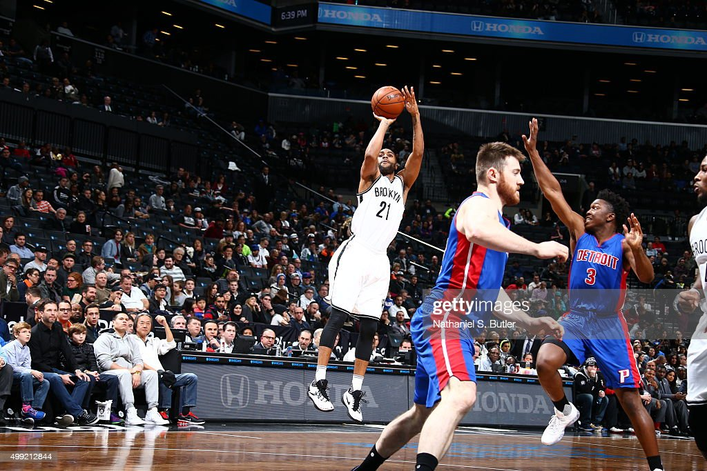 Wayne Ellington of the Brooklyn Nets shoots the ball against the Detroit Pistons on November 29 2015 at Barclays Center in Brooklyn New York NOTE TO...