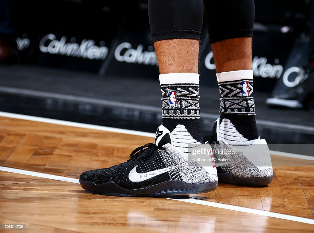 Wayne Ellington of the Brooklyn Nets sneakers during the game against the Sacramento Kings on February 5 2016 at Barclays Center in Brooklyn New York...
