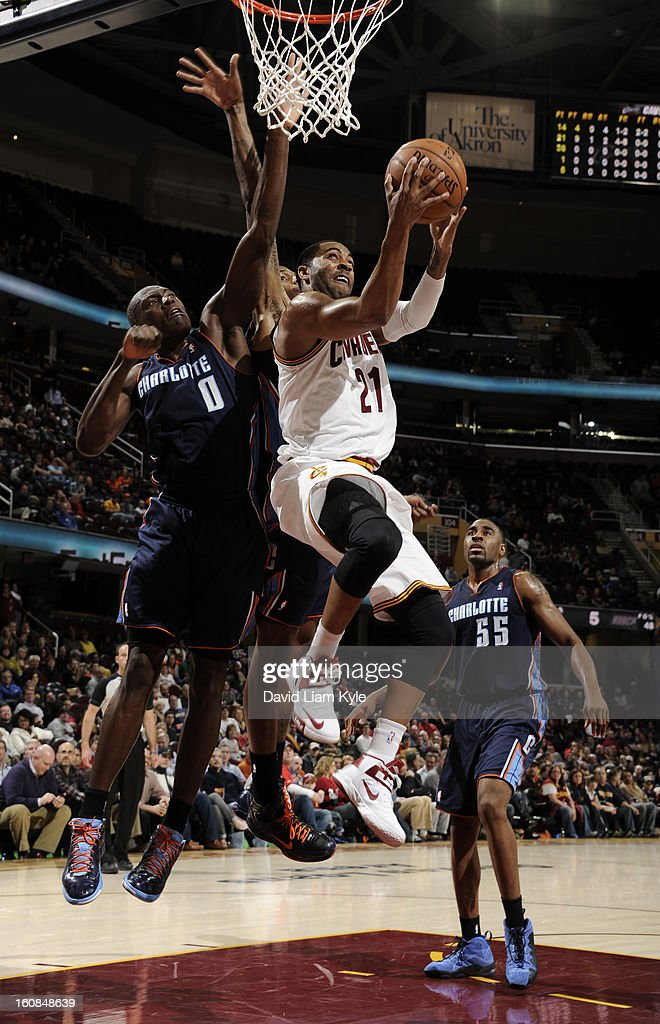 Wayne Ellington #21 of the Cleveland Cavaliers goes up for the shot against Bismack Biyombo #0 of the Charlotte Bobcats at The Quicken Loans Arena on February 6, 2013 in Cleveland, Ohio.