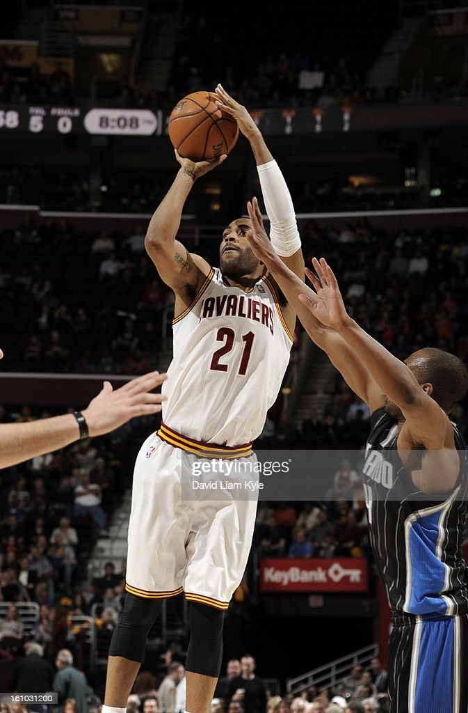Wayne Ellington #21 of the Cleveland Cavaliers shoots against the Orlando Magic at The Quicken Loans Arena on February 8, 2013 in Cleveland, Ohio.