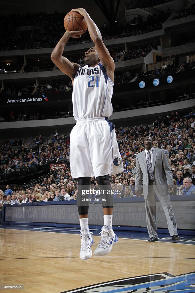 Wayne Ellington of the Dallas Mavericks shoots the ball against the Utah Jazz on November 22 2013 at the American Airlines Center in Dallas Texas...