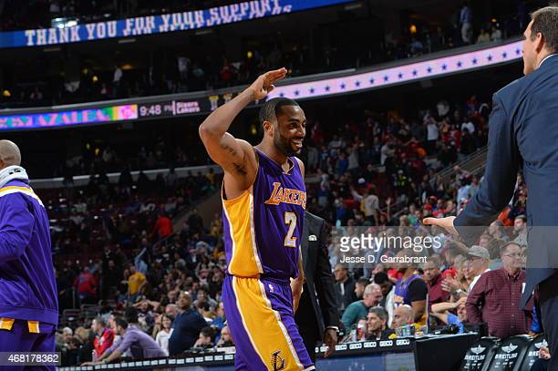 Wayne Ellington of the Los Angeles Lakers assisted with the game winning shot against the Philadelphia 76ers at Wells Fargo Center on March 30 2015...