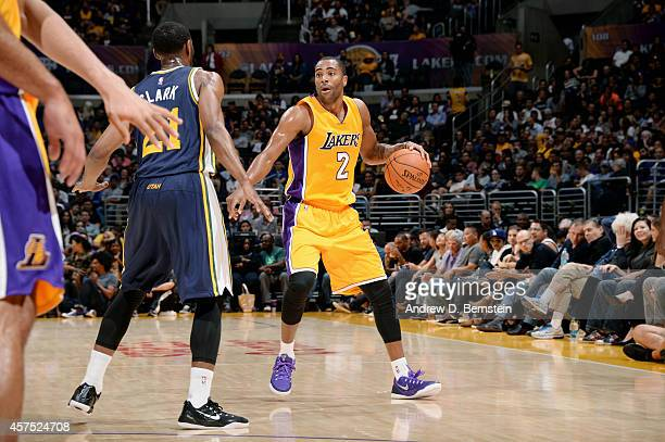 Wayne Ellington of the Los Angeles Lakers drives against the Utah Jazz at STAPLES Center on October 19 2014 in Los Angeles California NOTE TO USER...