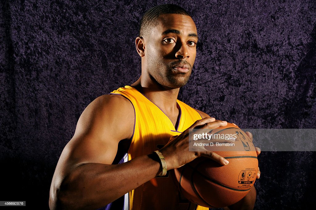 Wayne Ellington of the Los Angeles Lakers poses for a portrait during training camp at the Toyota Sports Center in El Segundo CA on October 4 2014...