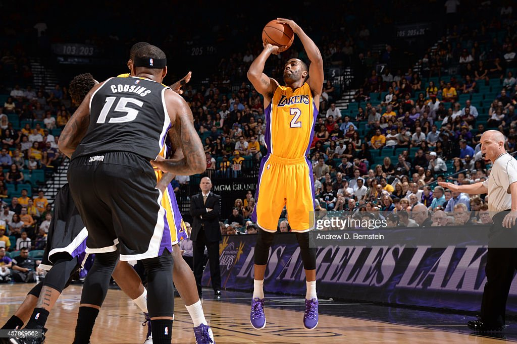 Wayne Ellington of the Los Angeles shoots the basketball during a game against the Sacramento Kings on October 24 2014 at the MGM Grand Garden Arena...