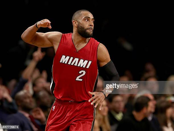 Wayne Ellington of the Miami Heat celebrates his three point shot in the fourth quarter against the Brooklyn Nets at the Barclays Center on January...