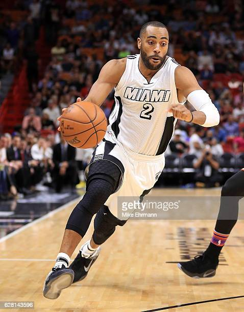 Wayne Ellington of the Miami Heat drives to the basket during a game against the New York Knicks at American Airlines Arena on December 6 2016 in...