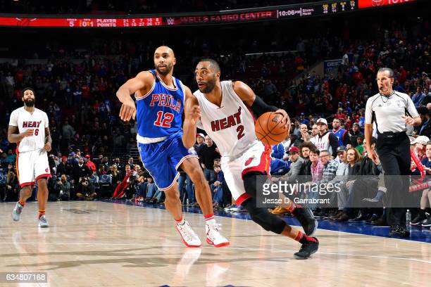 Wayne Ellington of the Miami Heat drives to the basket during the game against the Philadelphia 76ers on February 11 2017 at Wells Fargo Center in...