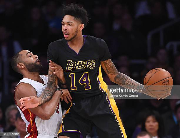 Wayne Ellington of the Miami Heat guards Brandon Ingram of the Los Angeles Lakers in the first half of the game at Staples Center on January 6 2017...