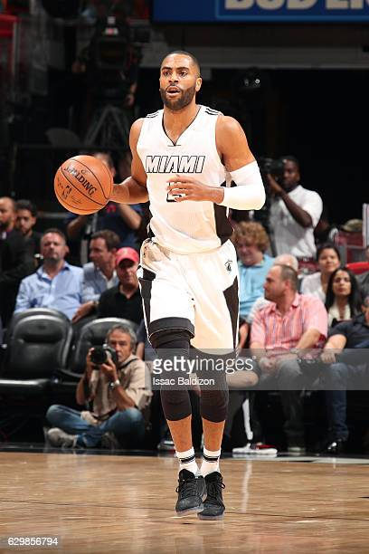 Wayne Ellington of the Miami Heat handles the ball against the Indiana Pacers on December 14 2016 at American Airlines Arena in Miami Florida NOTE TO...